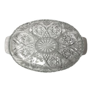 Vintage Mid 20th Century Lead Crystal Serving Tray For Sale