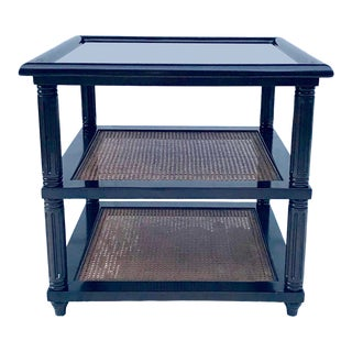 20th Century Contemporary Drexel Heritage Edwardo Black Lacquered and Cane Side Table For Sale