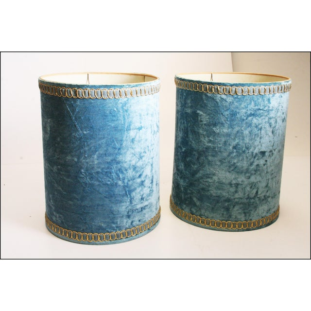 Vintage Hollywood Regency Blue Crushed Velvet Lamp Shades - A Pair - Image 7 of 10