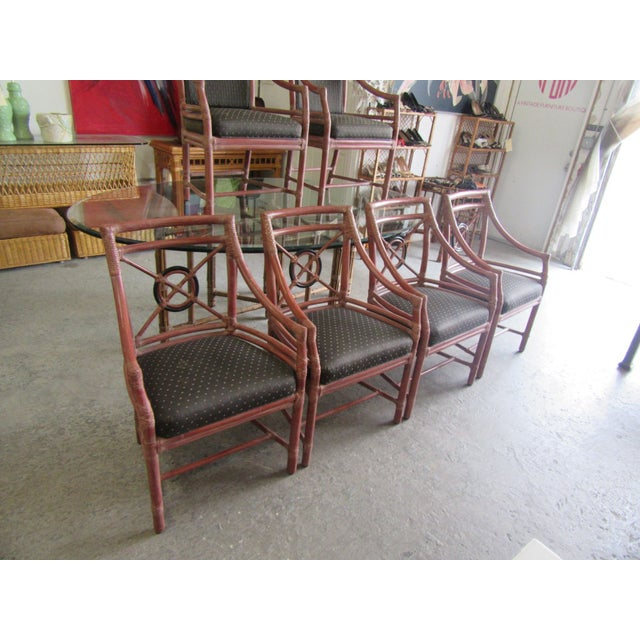 McGuire 1970s McGuire Rattan Target Dining Chairs- Set of 6 For Sale - Image 4 of 9