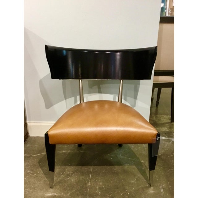 Caracole Modern Cognac Leather Klismos Chair For Sale In Atlanta - Image 6 of 6