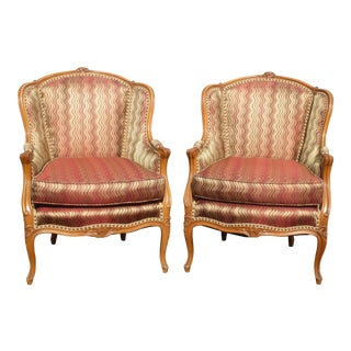 Vintage French Carved Solid Wood Red Upholstered Accent Arm Chairs - a Pair For Sale