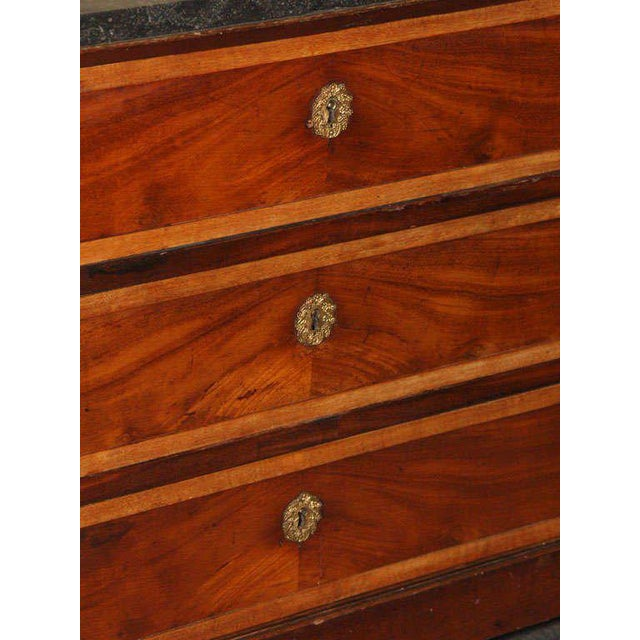 Mahogany Antique French Directoire mahogany marble top commode. For Sale - Image 7 of 9