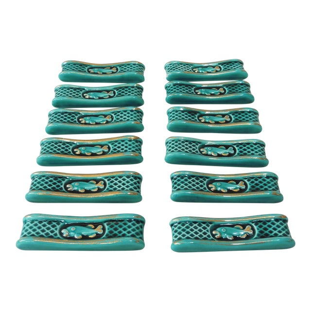 Green Majolica Knife Rests With Fish - Set of 12 For Sale