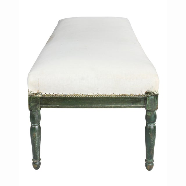Early 19th Century French Restauration Green Painted Bench For Sale - Image 5 of 8