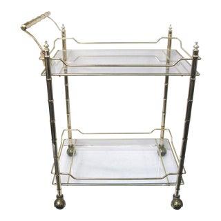 Mid-Century Faux Bamboo Original Glass Bar Cart
