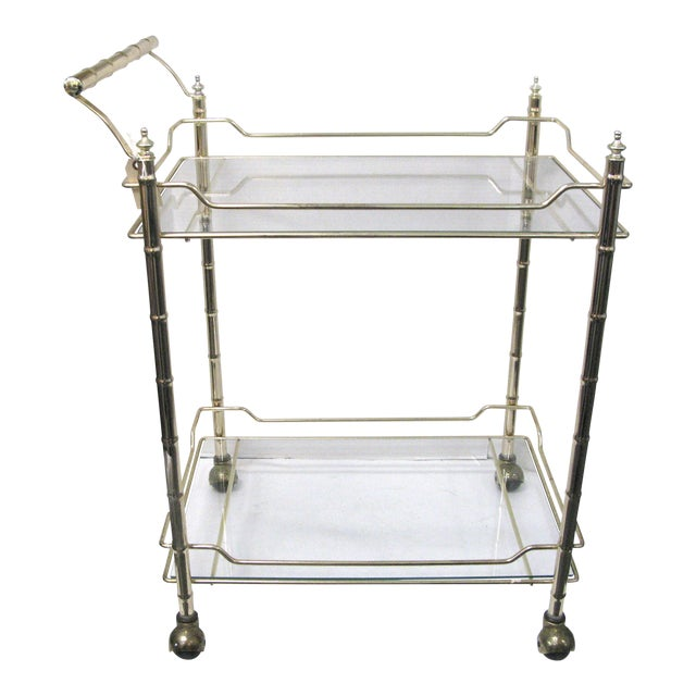 Mid-Century Faux Bamboo Original Glass Bar Cart For Sale