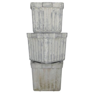 French Square Ribbed Box Planters by Eternit For Sale