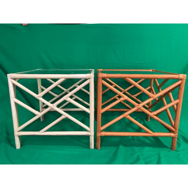 20th Century Chinese Chippendale Rattan Side Tables With Clear Glass Top - a Pair For Sale - Image 4 of 8