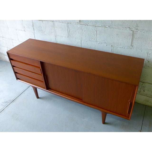 Teak Mid Century Modern CREDENZA media stand For Sale - Image 5 of 10