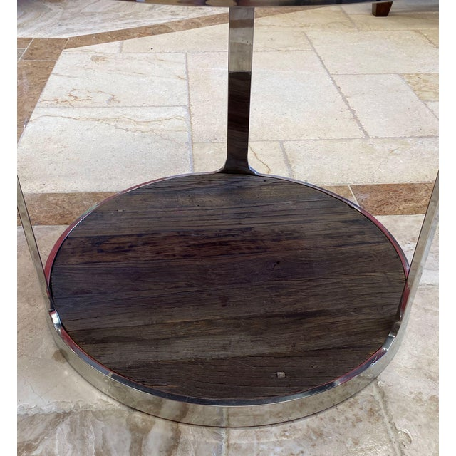 Reclaimed Wood and Polished Chrome Accent Table For Sale In Tampa - Image 6 of 10