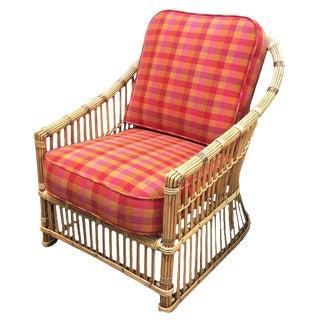 """Restored """"President's"""" Art Deco Stick Rattan Lounge Chair For Sale"""