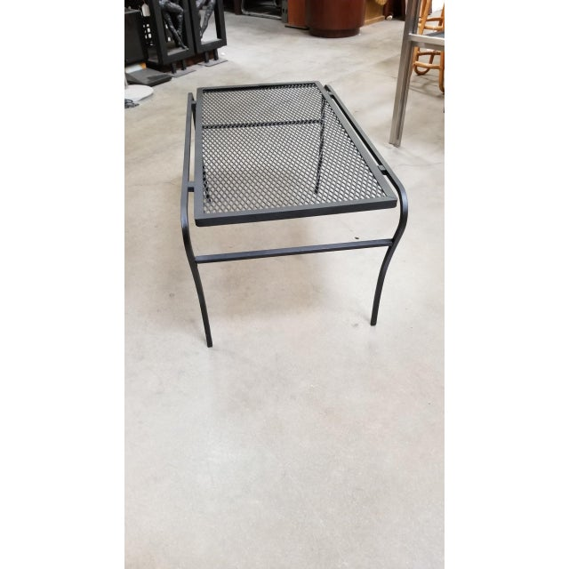 """Industrial Iron and Mesh Low Outdoor/Patio """"U"""" Leg Coffee Table by Woodard For Sale - Image 3 of 5"""