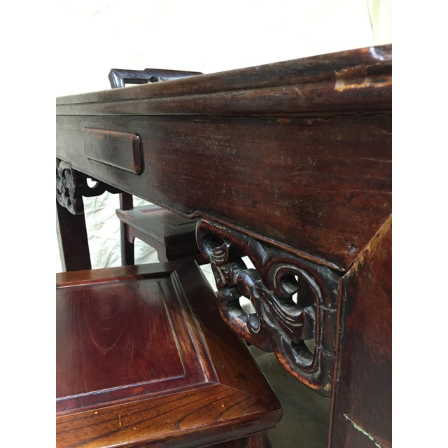 Asian Late 19th Century Antique Chinese Gaming Table & Chairs- 5 Pieces For Sale - Image 3 of 13