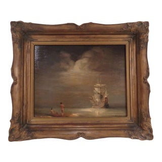 Oscar Oestreicher (German, 1896-1977) Framed French Sail Ship Painting For Sale