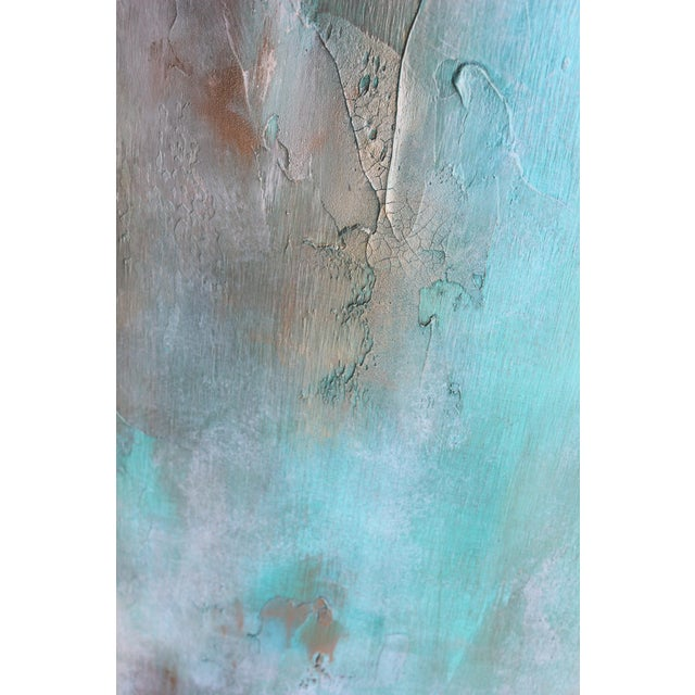 Original Abstract Modern Art Painting Atlantis Turquoise Textured Wood Artwork - Image 3 of 4