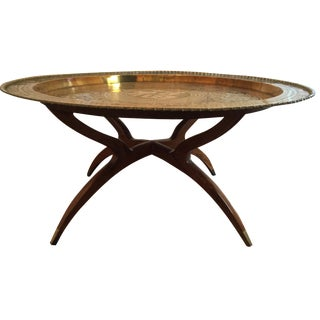 MCM Oriental Brass Tray Table For Sale