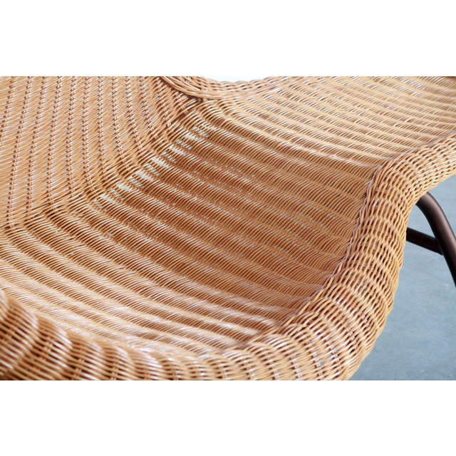 Wicker Vintage Mid Century Modern Wicker Chaise Lounge - Pair Available For Sale - Image 7 of 9