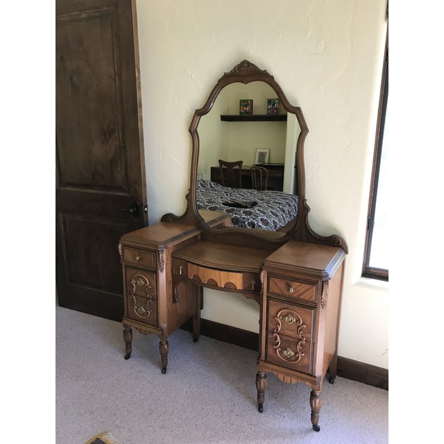 Exquisite antique dressing table with burled and zebrano woods and many intricately carved components. Excellent...