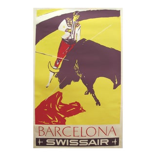 1960s Original Swissair Travel Poster, Barcelona - by Henri Ott