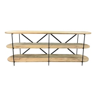 Regina Andrew Industrial Modern Workshop Wood and Iron Three-Tier Console Table For Sale