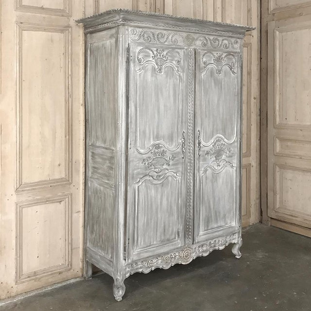 19th Century Country French Provincial Whitewashed Armoire For Sale - Image 4 of 13