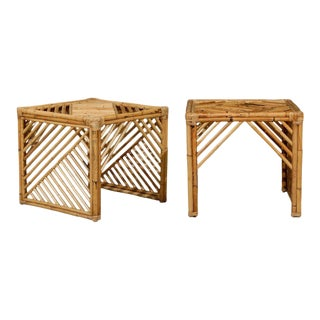 Brilliant Pair of Modern Chippendale Style End Tables in Bamboo For Sale