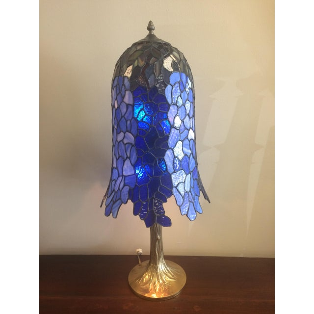 Somers Stained Glass Lamp. Made in Long Island, New York! 32in tall; 14in diameter Note: Two panes with minor scratches;...