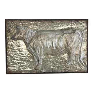 Vintage Mid-Century French Bas-Relief Metal Cow Wall Art For Sale