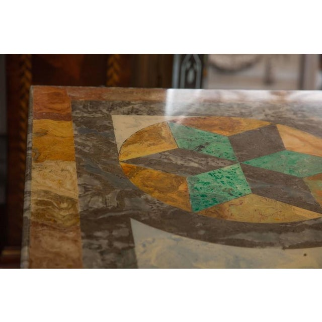 Italian Scagliola Marble-Table on Concrete Plinths For Sale In West Palm - Image 6 of 7
