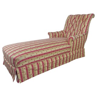 French 19th Century Napoleon III Chaise Longue in Striped Patterned Fabric For Sale