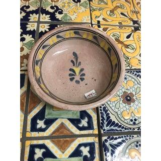Vintage Mexican Ceramic Pozole Bowl Hand Painted Blue Leaf Flower Pattern Design Preview