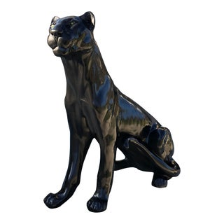 Vintage Life-Size Black Panther Statue For Sale