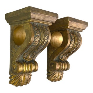 Gilt Gold Wood Drapery Holder Sconce - Pair of 2 For Sale