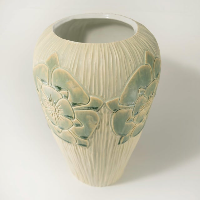 English rose Arts & Crafts design porcelain vase, hand carved and crafted by Christopher Brody. Available in multi-color...