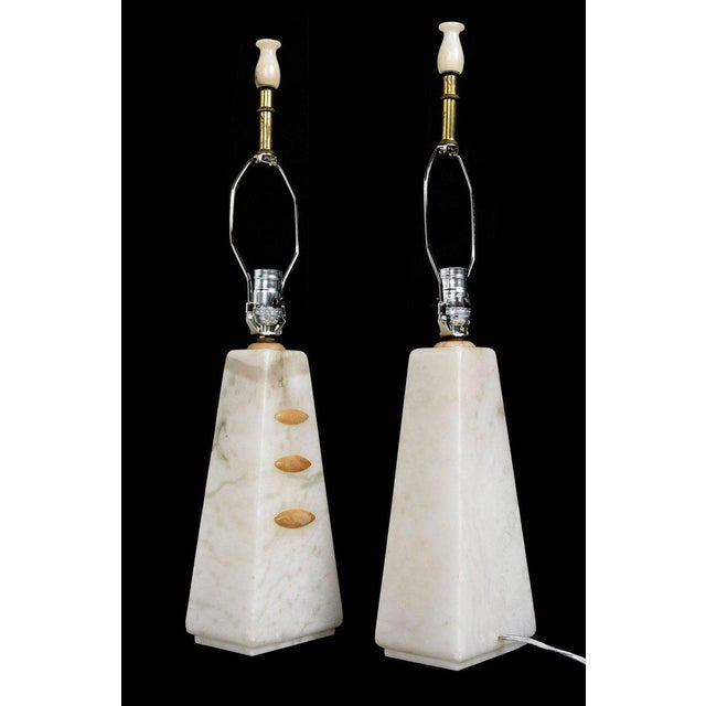 1950s Art Deco to Modern Transitional Alabaster Pyramid Table Lamps and Finials - a Pair - Image 3 of 8