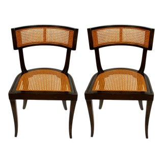 Modern Klismos Style Caned Curved Side Chairs - A Pair For Sale