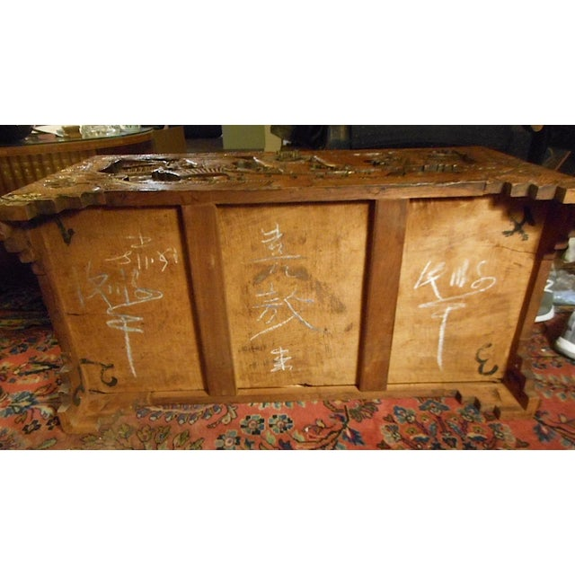 Brown Antique Original Hand Carved Mahogany Chest/Coffee Table-Camphorwood Lined For Sale - Image 8 of 10