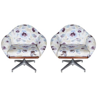 Mid-Century Modern Floral Swivel Base Chairs - a Pair For Sale