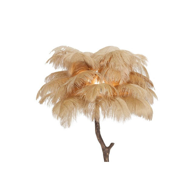 Small palm tree feather floor or table lamp. Available as a single or as a pair Hollywood Regency in the manner of Duval...