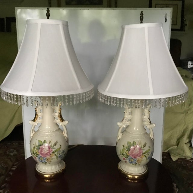 White Vintage French Opaline Enamel Painted Vase Lamps - a Pair/Reduced Final For Sale - Image 8 of 8