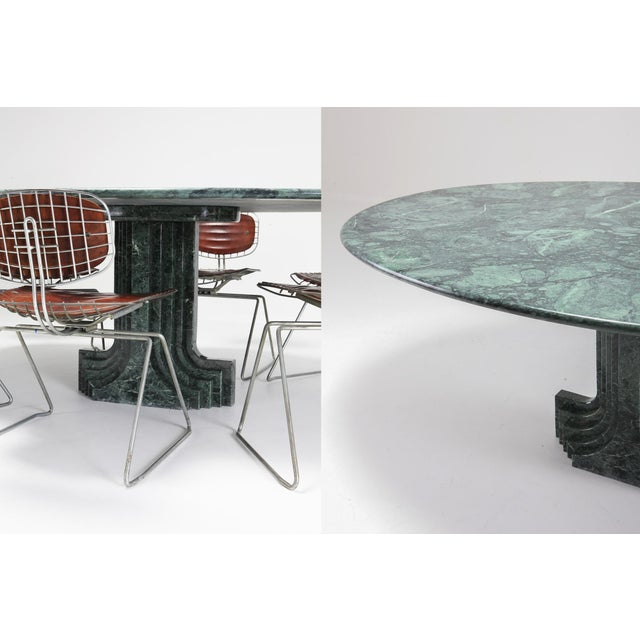 Lights Carlo Scarpa Dining Table 'Samo' in a Rare Green Marble For Sale - Image 7 of 11