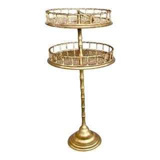 Vintage Two Tier Faux Bamboo Brass Side Table For Sale