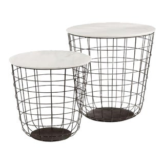 Kenneth Ludwig Terrace Tables With Marble - Set of 2 For Sale