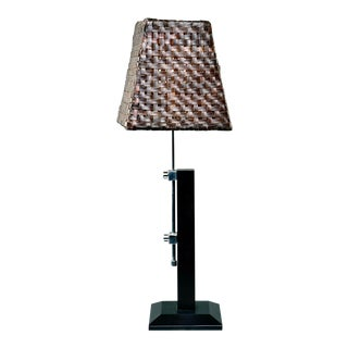 Mid Century Italian Adjustable Lamp With Original Woven Leather Shade For Sale