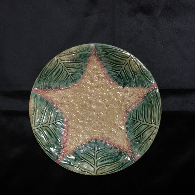 Vintage Majolica Cauliflower Plate For Sale - Image 4 of 4