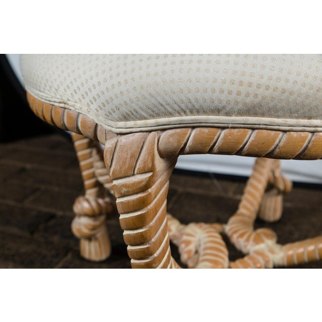 Wood Carved Wood Faux Rope Circular Bench, French Style For Sale - Image 7 of 11