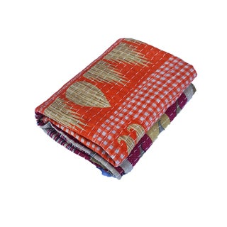 """Vintage Indian CottonThrow Kantha Quilt W/ Tulip 84"""" by 56"""" For Sale"""