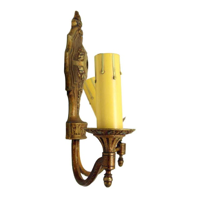 Metal 1920s Single Two Arm Bronze Sconce For Sale - Image 7 of 11