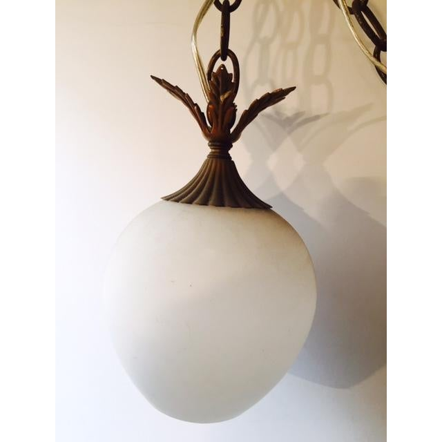 Brass & White Glass Pineapple Swag Light - Image 3 of 6